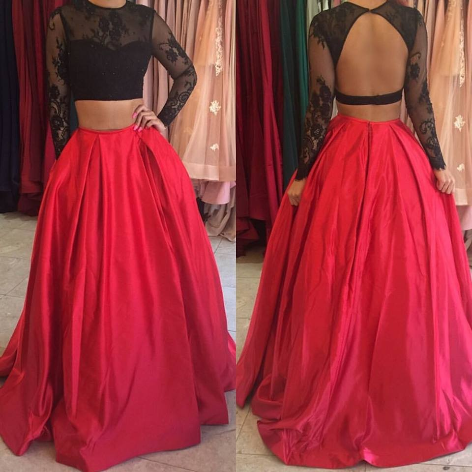 Black-and-Red-Long-Sleeves-Lace-Two-Pieces-Prom-Dresses-Sexy-Open-Back-Satin-Skirt-2