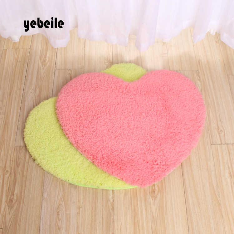 Yebeile Heart-shaped tapete tapete almofada cadeira de jardim de infância das crianças amo tapetes para sala de estar, banheiro e cozinha