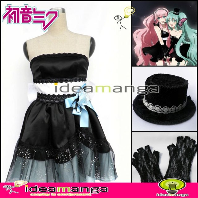 Manga Amime VOCALOID Magnet MIKU Hatsune Miku Women's Cosplay  Costume Female halloween party dress Any Size Freeshipping
