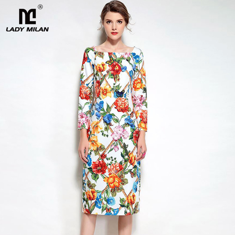 New Arrival 2018 Spring Womens Square Neckline Wrist Sleeves Floral Printed Appliques Beaded Fashion Casual Dresses