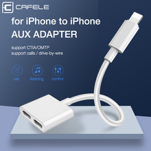 Cafele 2 in 1 Audio Adapter For iPhone X XR XS MAX 8 7 Plus Charger Adapter Earphone OTG Splitter Converter For iOS Support Call
