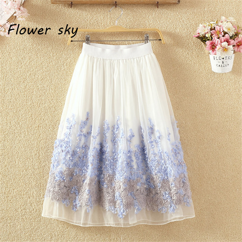 Women High Waist Tutu Floral Tulle Skirt Adult Fashion Organza Skirts Knee Length 3D Flower Mid Skirt