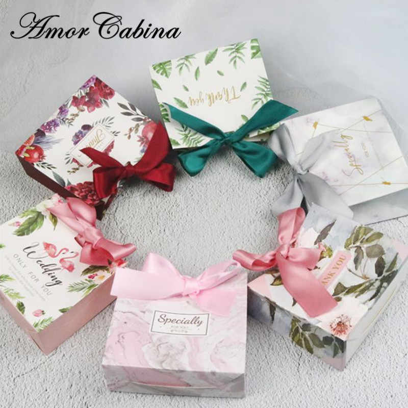 50 Pcs Europese Creatieve Flamingo Marmer Forest Green Leaf Wedding Zoals Snoep Doos Bomboniera Party Chocolate Candy Bag