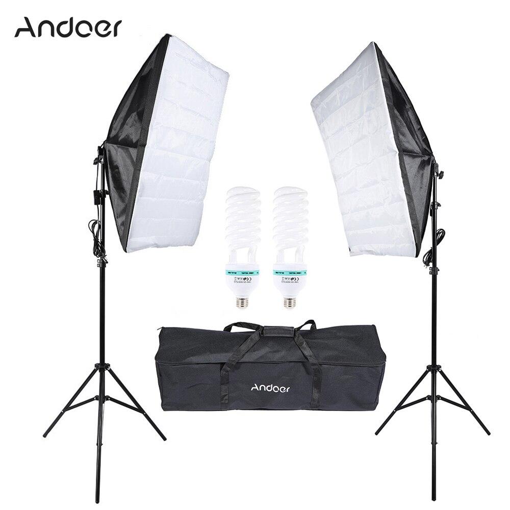 bilder für Fotografie Studio Cube Regenschirm Softbox Beleuchtung Zelt Kit Foto Video Ausrüstung 135 Watt Birne Stativ Softbox Tragetasche