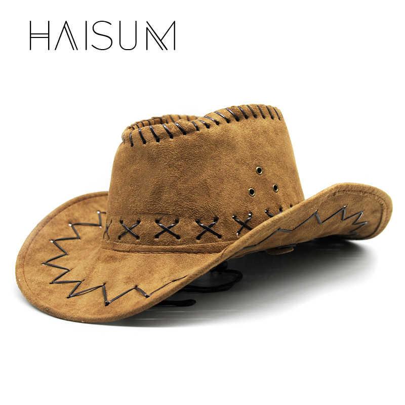 2018 Top moda sólido adulto haisum moda hombres mujeres sombrero de vaquero  protector solar Fieltro 0599fc329de