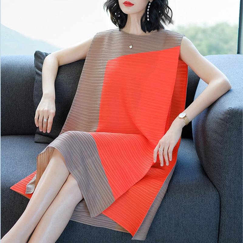 Summer New Women Round Neck Patchwork Pleated Dress Sleeveless Knee-Length Tank Dresses Red Khaki Dark Blue Vestido Feminina