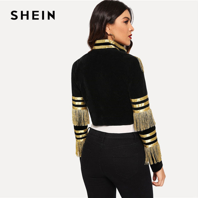 SHEIN Lady Fringe Patched Metallic Double Breasted Stripe Black Gothic Jacket Women Autumn Stand Collar Cropped Jacket 2