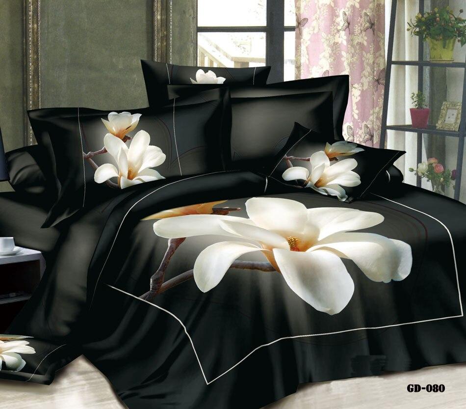 3D Magnolia flor Floral juego de cama California king size queen ...