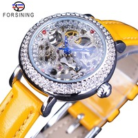 Forsining Yellow Leather Transparent Flower Back Skeleton Royal Crown Fashion Lady Diamond Luxury Women Mechanical Watches Clock