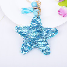 2015 fashion Cute Leather car Key Chain key rings leather tassel rhinestone Star Pendant Women key chain 8 Colors gift wholesale(China)