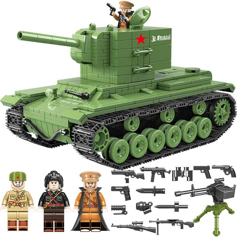 NEW 818 PCS Soviet Army kv2 Tank Military Building Blocks Military Soviet Army Soldier Weapon accessory Bricks Toys for children