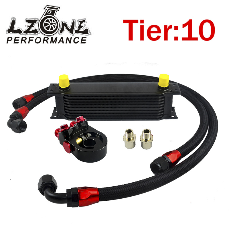 ФОТО LZONE- Universal 10 ROWS OIL COOLER ENGINE +AN10 oil Sandwich Plate Adapte with Thermostat +2PCS NYLON BRAIDED HOSE LINE BLACK