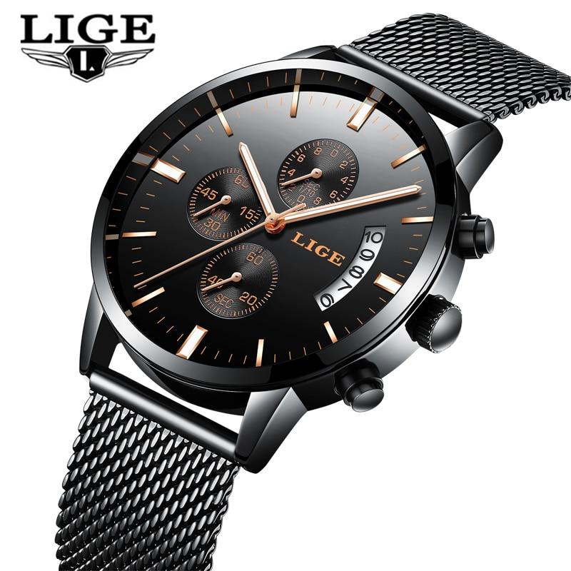 Relogio masculino lige Элитный бренд Аналоговые Спорт наручные часы Для мужчин кварцевые часы Бизнес часы Для мужчин часы модные мужские часы