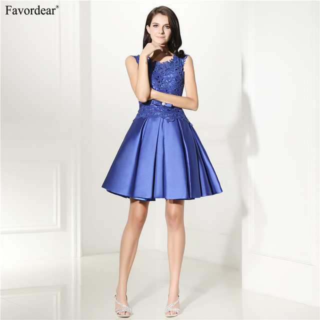 Favordear A Line Short Royal Blue Homecoming Dresses Satin Skirt With Lace  Top 2018 New 3f9ea9cea1ea