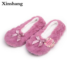 2017 New Winter Warm At Home Women Slippers Cotton Shoes Plush Female Floor Shoes Bow-knot Fleece Indoor Shoes Woman Home Slippe