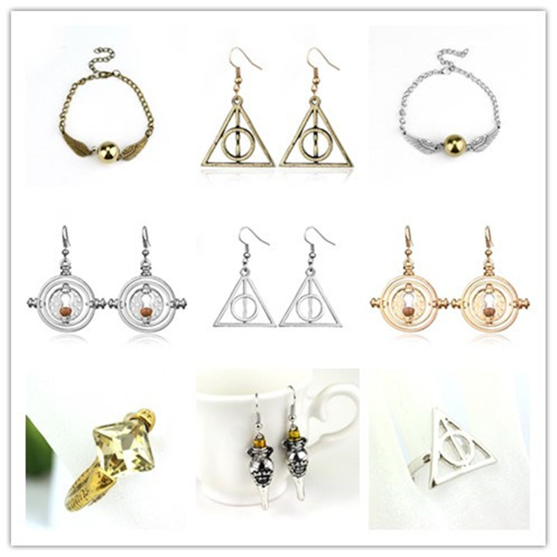 HP Hermione Time Converter Deathly Hallows Magic Earrings Rings Bracelet Jewelry Action Figure Cosplay Toys