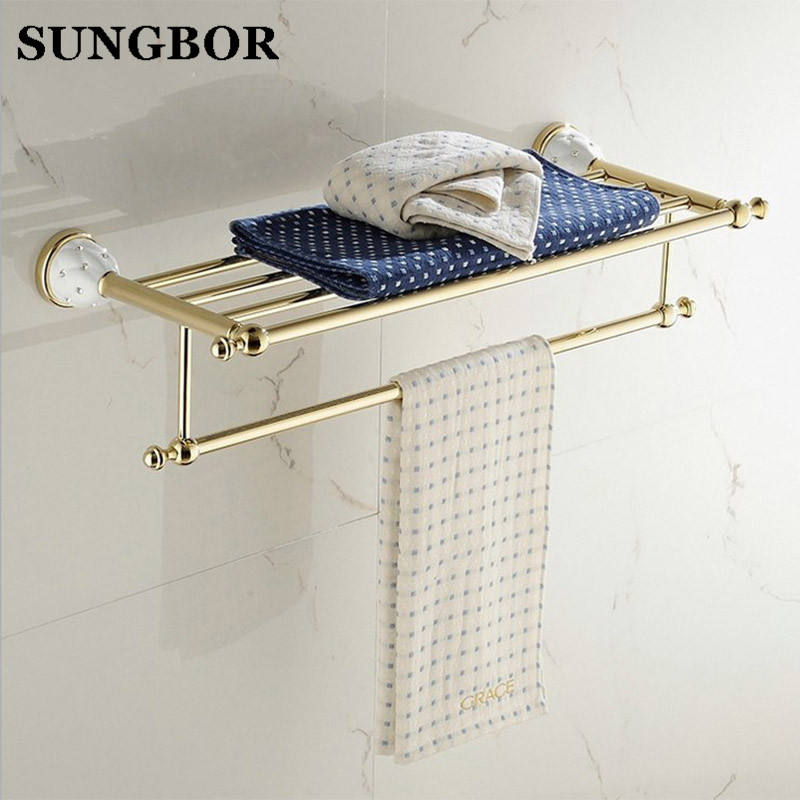 Brass+Crystal Gold Plating Towel Shelf with Bar, Towel Holder Bathroom Accessories Crystal Metal Towel Racks Free Shipping 5212K copper bathroom shelf basket soap dish copper storage holder silver