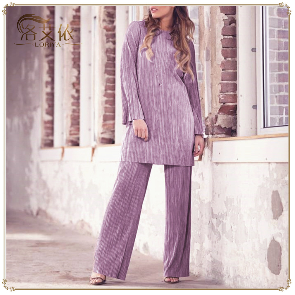2PCS Muslim Sets Casual Pleated Suits Flare Sleeve Woman Blouse Tops+ Wide Pants Islamic Clothing Turkey Robes Middle East