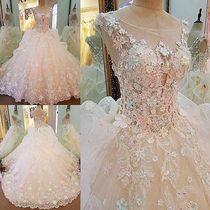 LS00104 свадебное платье с кружевомРоскошное свадебное платье для свадебного бисероплетения плиссированной юбки 3D цветы бальное платье кружева свадебные платья реальные