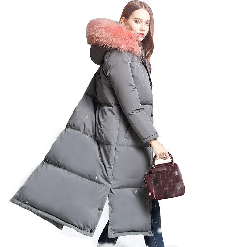 women winter white duck down long coats female big fur collar hooded thicker woarm jackets women down jackets outerwear QH0921