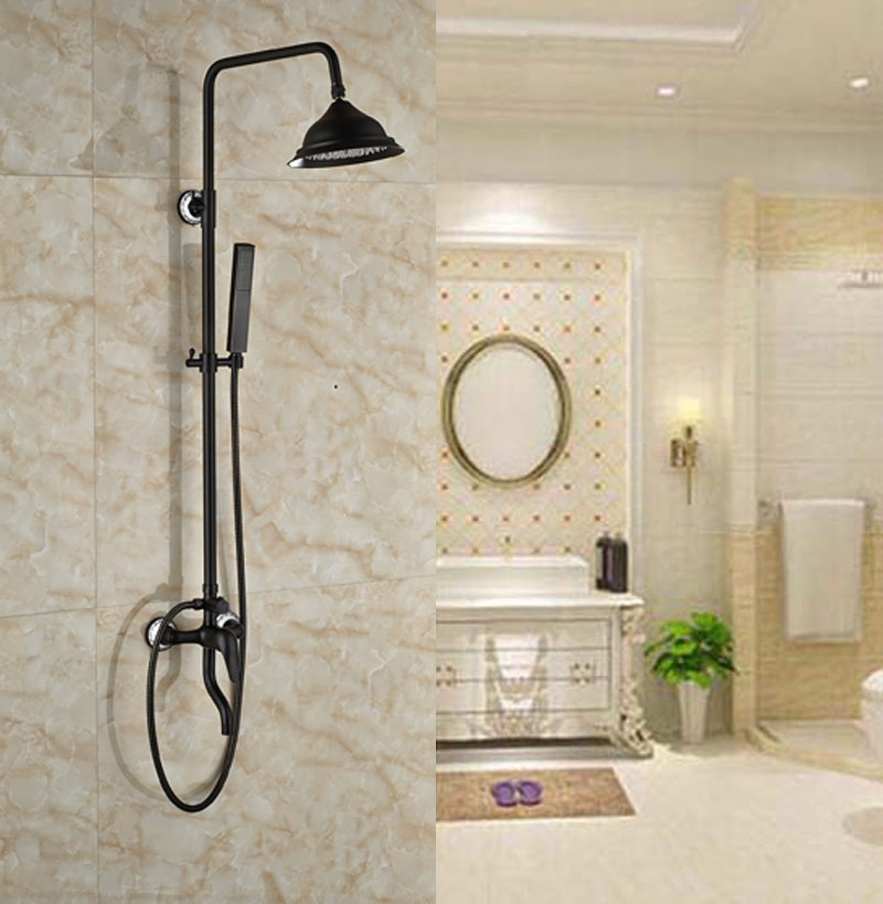 Exposed Bath Tub Shower Set Oil Rubbed Broze Faucet Single Lever With Handheld