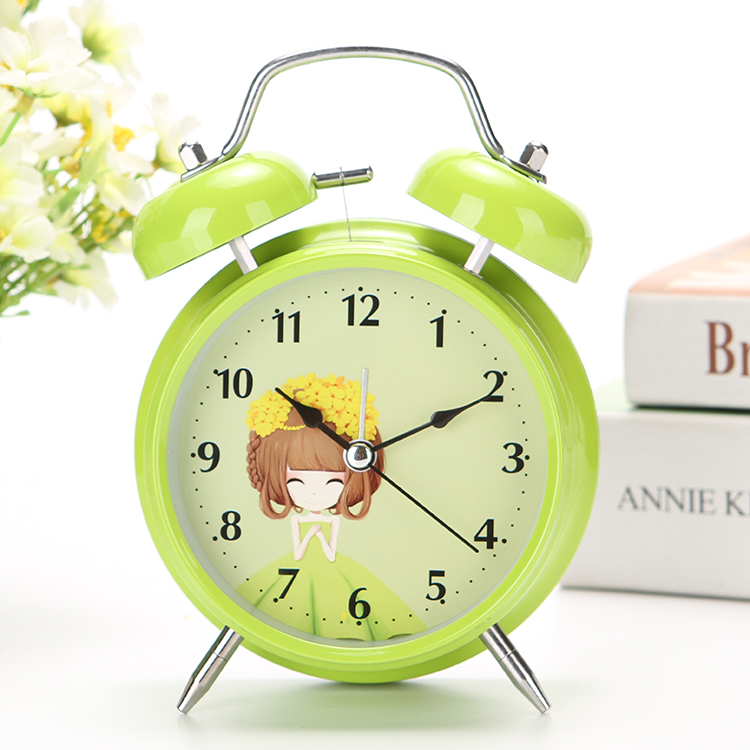 Bedside Mute Student Lazy Simple Small Alarm Clock Childrens Creative Bedroom Cartoon Super Loud Metal Alarm Clock