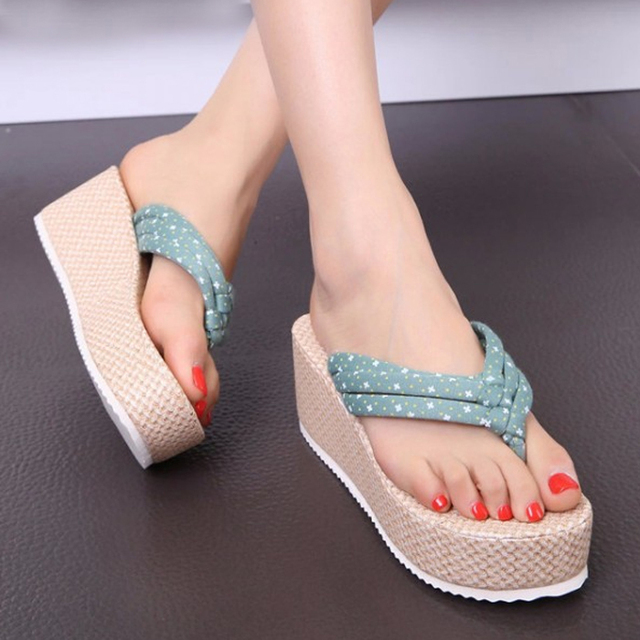 6c67a693082 Fashion Bohemia Platform Wedge Slippers Comfortable Cotton Fabric Casual Flip  Flops Ladies Medium Height Wedge Beach Sandals