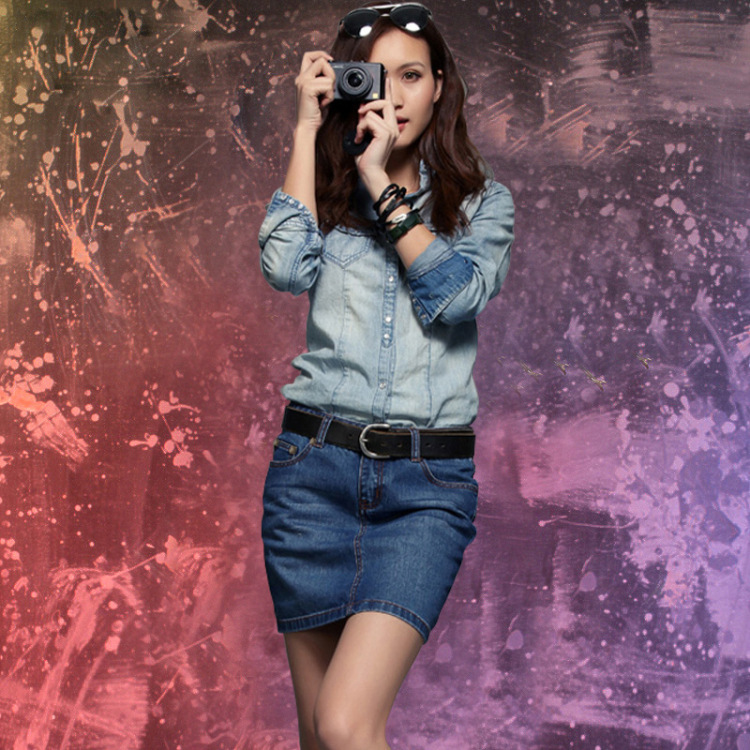 Venta al por mayor nueva moda Sexy Mini falda de mezclilla, falda de mezclilla para mujer de talla grande Paquete de faldas de vaqueros de cadera envío gratis N005