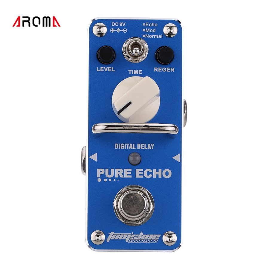AROMA APE-3 Pure For Echo Digital Delay Electric Guitar Effect Pedal Mini Single Effect with True Bypass amo 3 mario bit crusher electric guitar effect pedal aroma mini digital pedals full metal shell with true bypass
