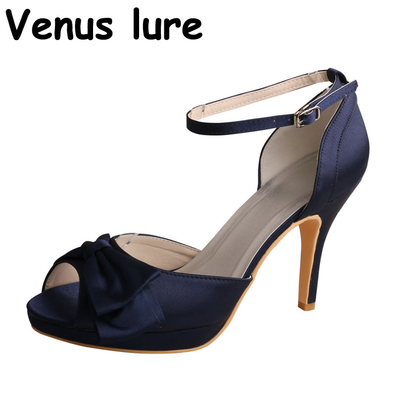 High Heel Ankle Strap Wedding Navy Sandals for Party Peep Tow Women Bridesmaid Shoes цена