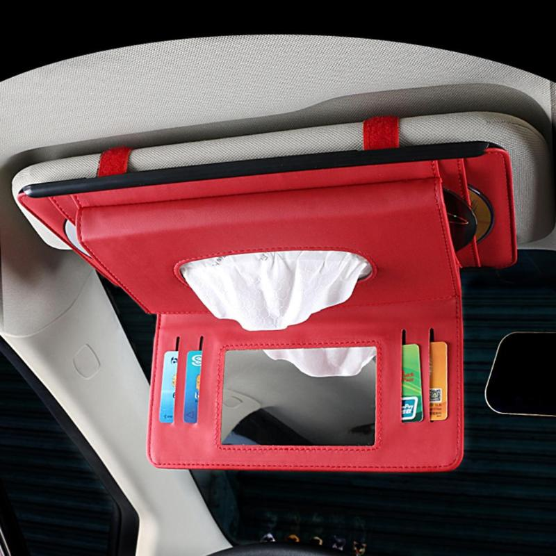 Multifunctional Car Sun Visor CD Card Ticket Pen Holder Tissue Box Organizer Storage Bag with Mirror цена