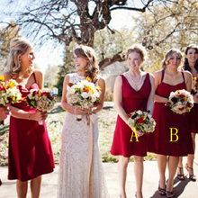 Sexy Short Dark Red/Burgundy Bridesmaid Dresses V Neck Empire Knee Length Bridesmaid Dress For Wedding Cute Bridesmaid Gowns B64
