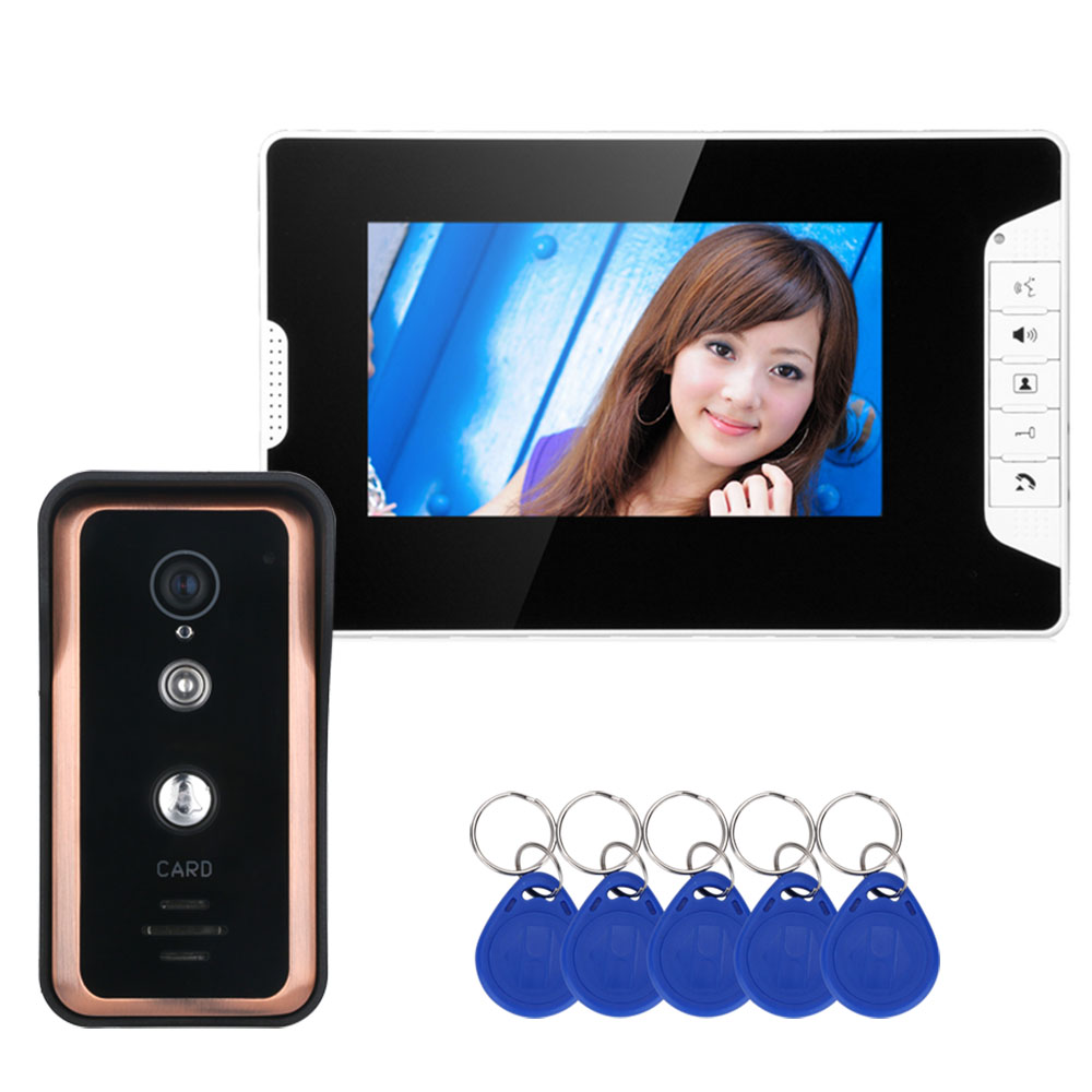 MOUNTAINONE 7 inch Color Video Intercom Door Phone System With  RFID Card Reader HD Doorbell 1000TVL IR CUT Camera-in Video Intercom from Security & Protection