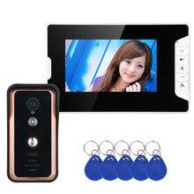 Sistema de teléfono de puerta de intercomunicador de vídeo de 7 pulgadas en Color con lector de tarjetas RFID HD Doorbell 1000TVL CÁMARA DE IR CUT