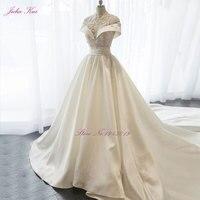 Neue Glänzender Satin Hohe Kragen A-linie Brautkleid Perlen Kristalle Appliques Bodenlangen Elegante Prinzessin Braut Kleid