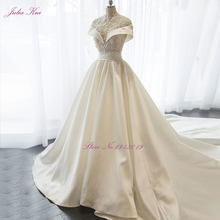New Lustrous Satin High Collar A-line Wedding Dress Beading Pearls Crystals Appliques Floor-Length Elegant Princess Bride Dress(China)
