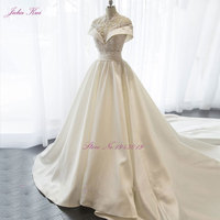 New Lustrous Satin High Collar A line Wedding Dress Beading Pearls Crystals Appliques Floor Length Elegant Princess Bride Dress