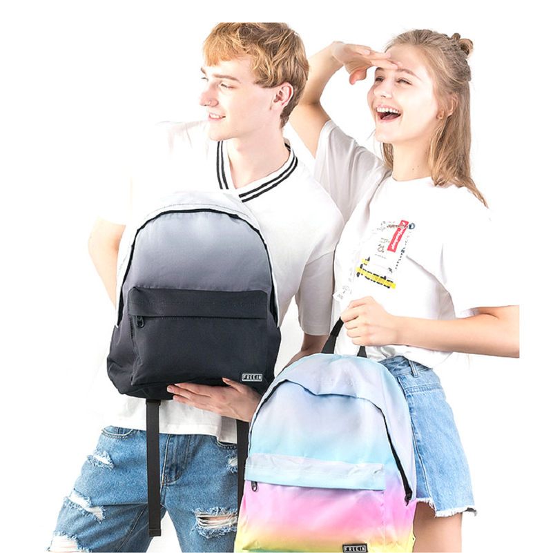 Waterproof Printing Backpack Women Gradient Men Daily Bags Female 14 Inch College Student Back Pack Knapsack Book Bag Travel bag men student backpack vintage canvas backpack shoulder bag school bag travel bag book pack mochila satchel knapsack women bags