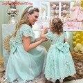 Verde hortelã curto Prom vestidos de festa mãe e filha Vestido mangas curtas Boat Neck pérolas Backless mulheres vestidos 2016 Vestido