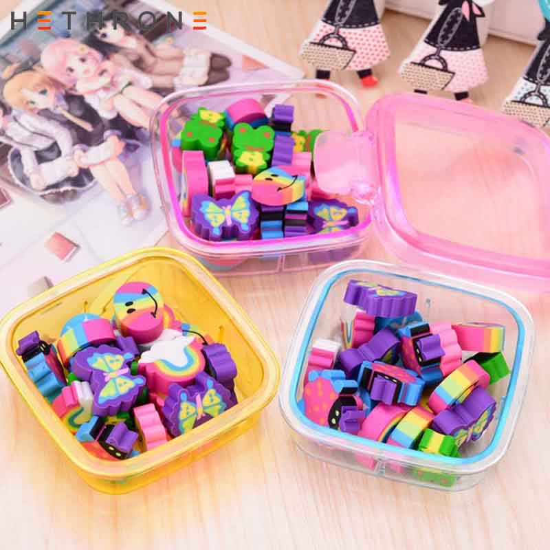 Hethrone Rainbow Box Eraser Gomas De Borrar Series Cartoon Goma De Borrar Stationery Gomme Kawaii Erasers For Kids Rubber