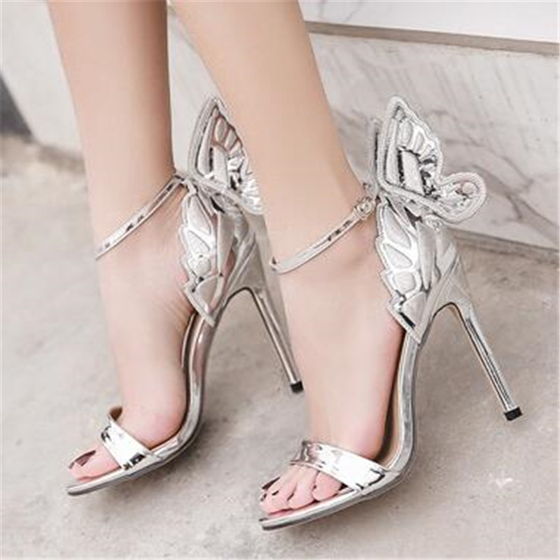 FeiYiTu New Women Butterfly Wing Embroidery Sandals 11CM High Heel Shoes  Woman Pumps Metallic Stiletto Wedding Party Dress Black-in High Heels from  Shoes on ... 9788559153a1