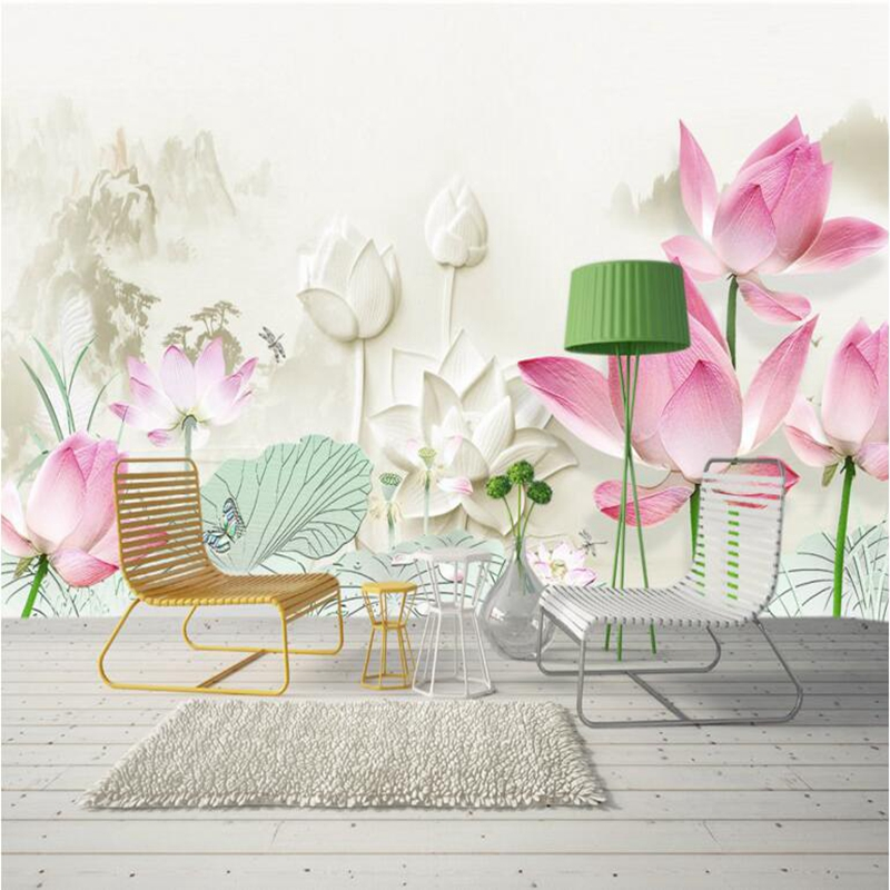 Mural Wall Art Wall Decor Ideas 3d Home Wallpaper Hd Chinese Ink Lotus Photo Wallpaper for Bedroom Sitting Room Decor Restaurant dsu new butterfly flower fairy wall sticker kids room bedroom removable decor art home mural