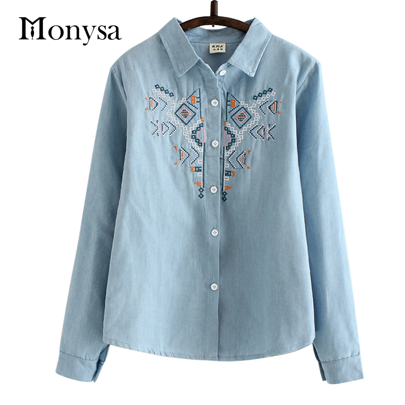 Denim shirt embroidery autumn women blouses tribal