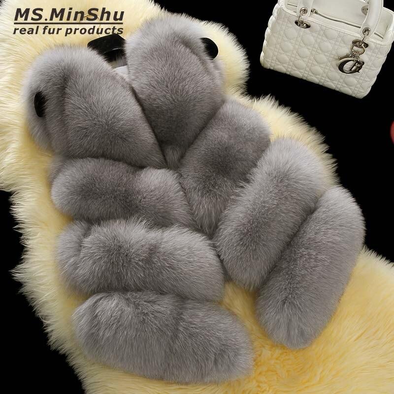 Ms. minshu натуральная лиса Мех животных жилет для Для женщин Элитная Фокс Мех животных пальто женские зимние лисы Мех животных жилет теплый жил