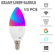 3Pcs Smart WiFi Candle Bulb Lamp E27/E14 RGB Bulb AC85-265V Dimmable Support Alexa/Google Home/IFTTT Control By Smart Phone APP(China)