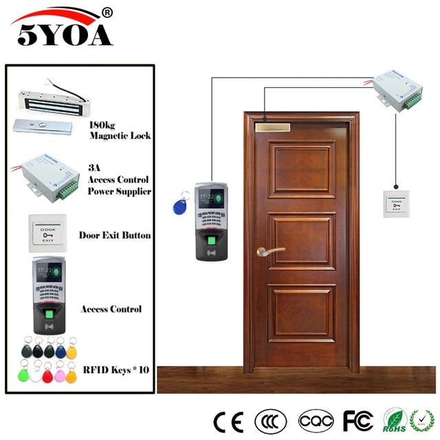Fingerprint RFID Access Control System Kit Wooden Glasses Door Set+Magnetic Lock+ID Card Keytab+Power Supplier+Button