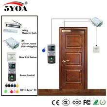 Parmak İzi RFID erişim kontrol sistemi seti ahşap gözlük kapı seti + manyetik kilit + kimlik kartı Keytab + güç tedarikçisi + düğme