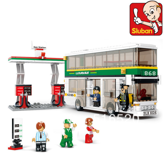 Sluban City Bus Building Block Sets 403pcs Educational DIY Jigsaw Construction Bricks toys for children