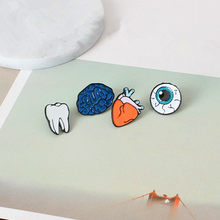 Fashion design Color drop oil Human Body Organs Brooches clip needle Eye Teeth Brain Heart Pins Lapel Pin For Women Jewelry(China)