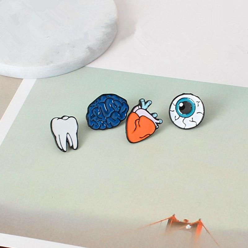 Fashion design Color drop oil Human Body Organs Brooches clip needle Eye Teeth Brain Heart Pins Lapel Pin For Women Jewelry